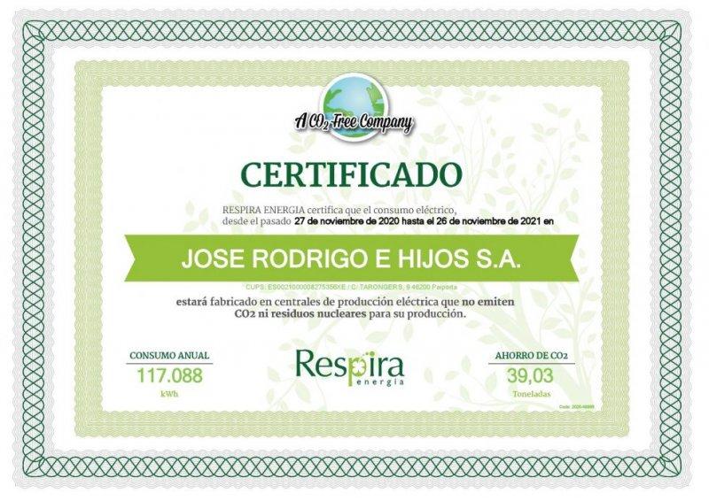 Muestra certificado respira energía